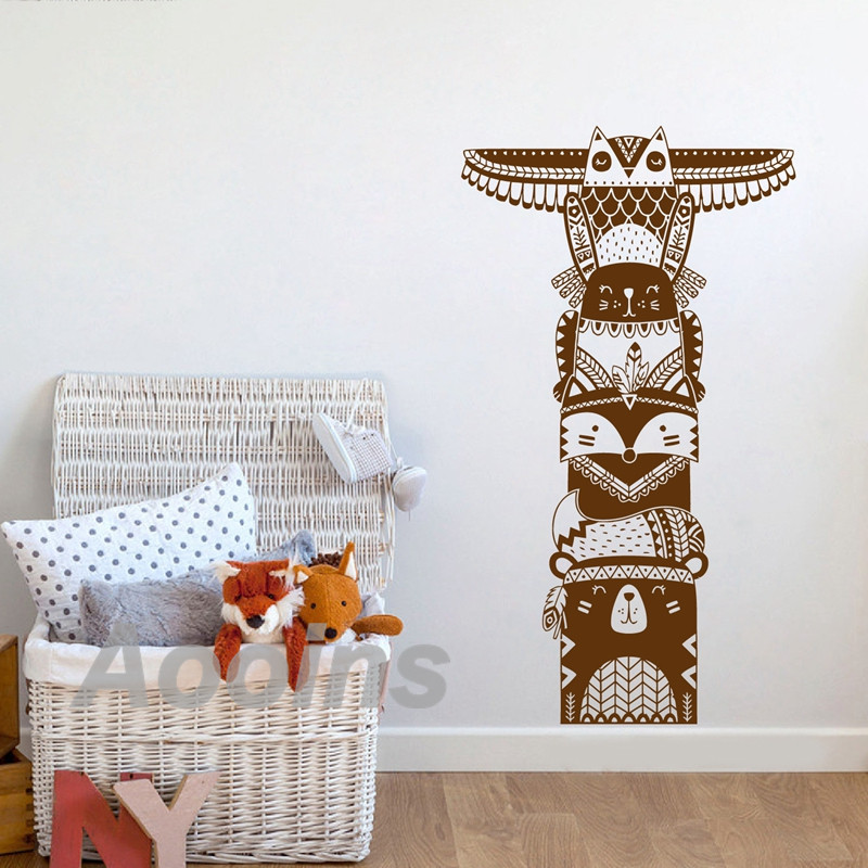 Totem Pole Art Decor Vinyl Wall Sticker Woodland Animal Tribal Mural Decals For Baby Kids Bedroom Removable Room Decoration