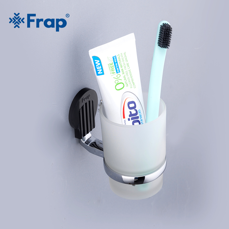 FRAP New 1 Set Zinc Alloy Cup Holder Glass Cups Wall-mount Single Toothbrush Tooth Cup Holder Bathroom Accessories F3306