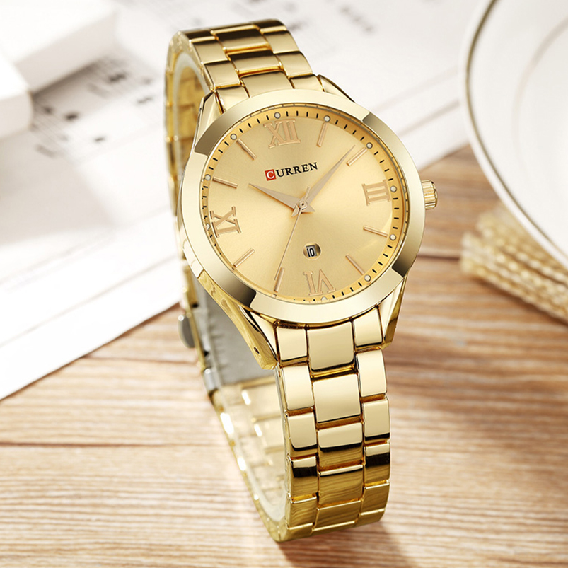 Jewelry Gifts For Women's Luxury Gold Steel Quartz Watch Curren Brand Women Watches Fashion Ladies Clock relogio feminino 9007 Lahore