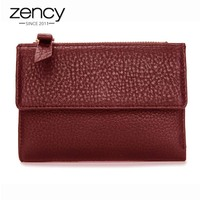 Zency Hot Fashion Women Short Wallet 100 Genuine Cow Leather High Quality Hasp Zipper Purse Coin