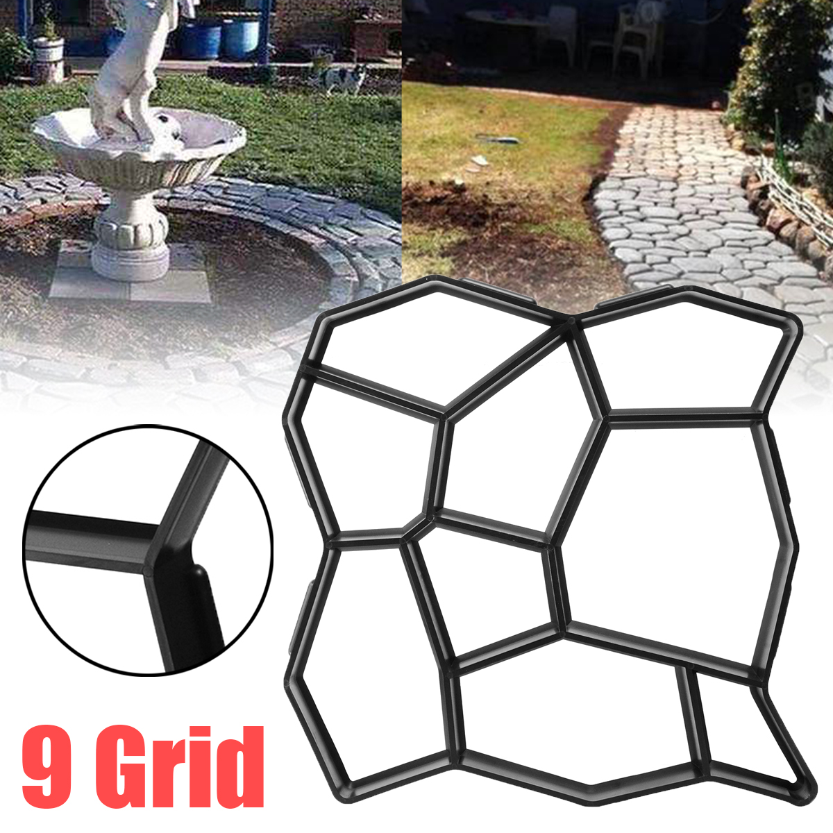9 Grid 50cm Garden Pavement Mold Walk Pavement Concrete Mould DIY Paving Cement Brick Stone Road Floor Path Maker Mould