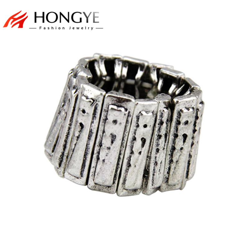 New Arrival Fashion Women Noble Antique Silver Color Statement Stretchable Rings Jewelry