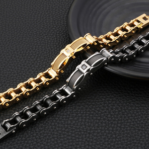 Image 5 - Bijoux de motard pour hommes, Bracelet de chaîne à Look usé, en acier inoxydable, Vintage, noir, vêtements de vélo, CZ, 2019