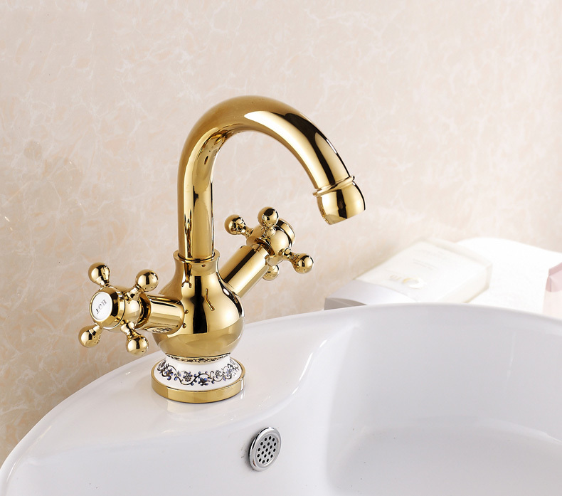 Blue and White Porcelain Bathroom Faucet with Gold,Vessel Sink Faucet with 2 Handles,Hold and Cold Bathroom Tap