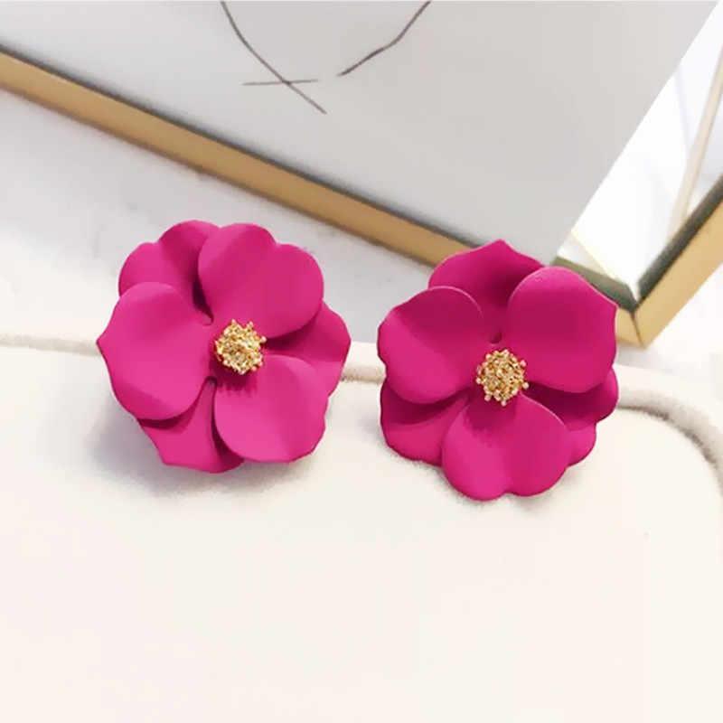 Bonito metal flor brincos para mulheres menina estilo coreano moda grande doce brinco feminino brinco verão jóias presente rosa