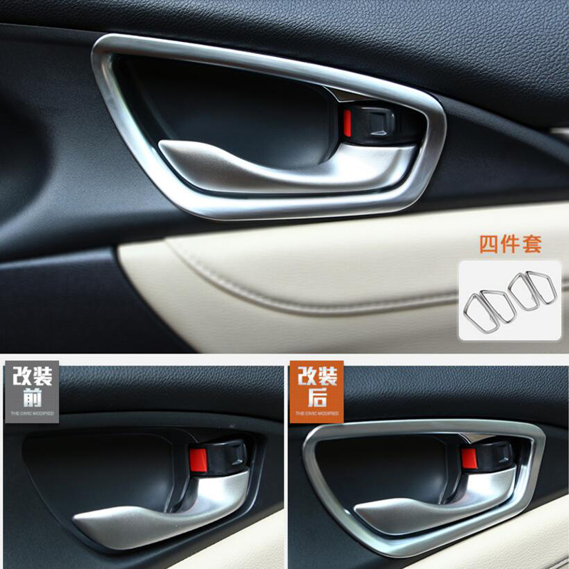 For Honda Civic 2016 4PCS Car Door Interior Handle Bowl Protector Cover Trim Molding ABS Chrome Car Styling|Chromium Styling|   - title=