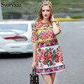 2017 runway diseñador de las últimas summer dress mujeres de alta calidad media de la manga rebordear rose flores imprimir loose dress