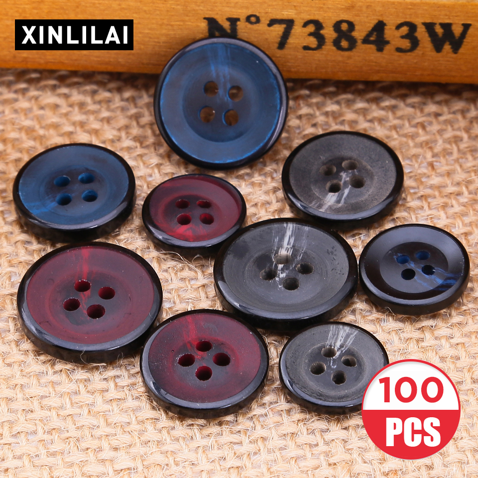 100pcs Solid Glossy Resin Buttons Handmade Four Holes Suit Windbreaker Fashion Twist Clothing Accessories