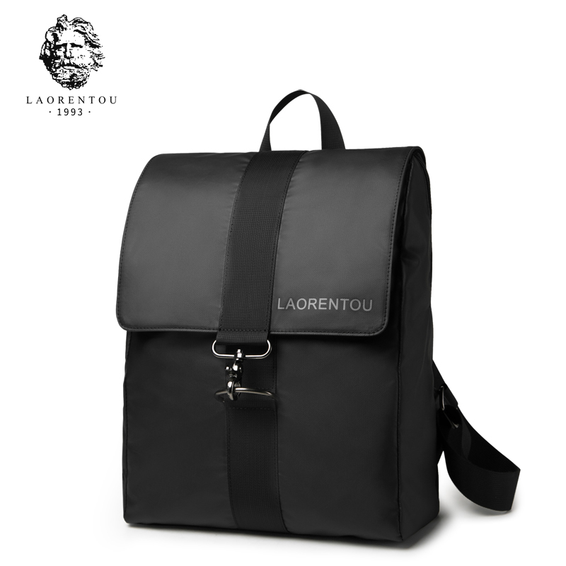 LAORENTOU Men Oxford Backpacks Men School Bag Male Fashion Shoulder Bag Split Leather Backpacks for Teenager Boys