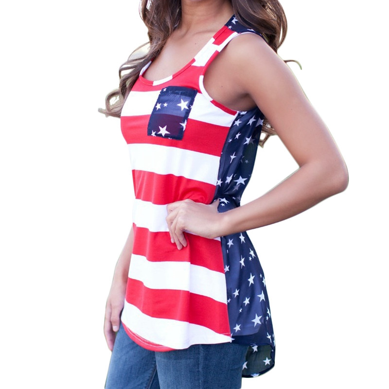 a7e0c272 Trendy Fashion American USA Flag Print Stripes Tank Top Sexy Women Summer  Sleeveless Tops Vest T Shirt Red White/Red Blue Strip-in Tank Tops from  Women's ...
