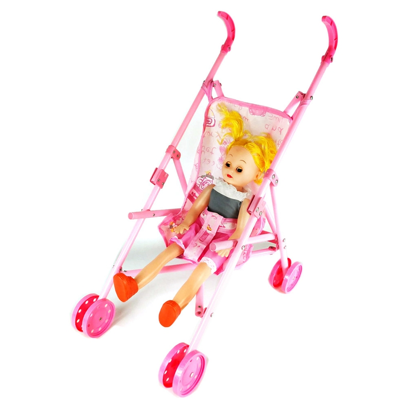 Trolley Dolls Stroller Foldable Pushchair Pram Cart Baby Children Toy Cart Doll Baby Girl Pretend Play Toy Set Random Color