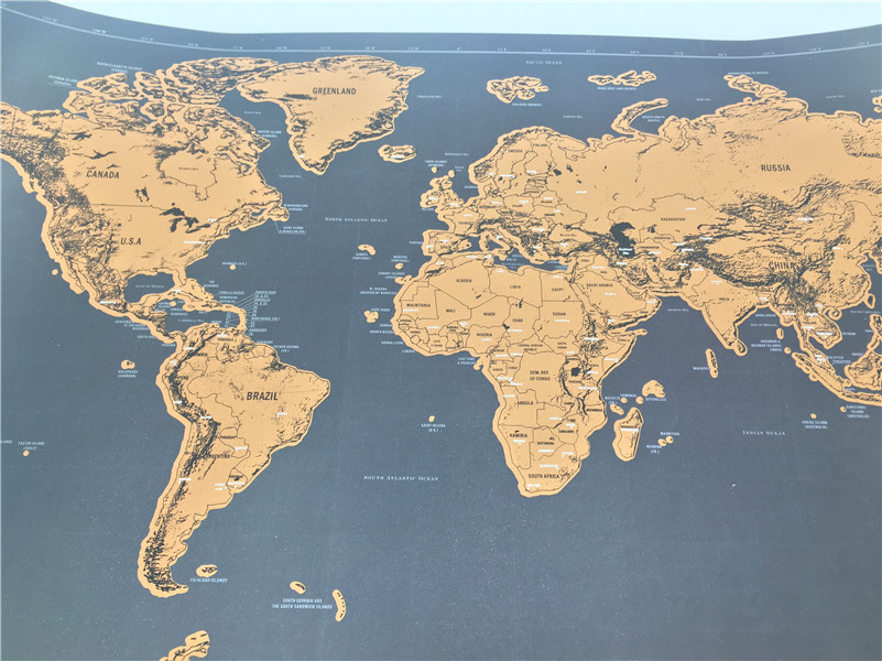 New Luxury Home Decor Deluxe Scratch Map Personalized Black Golden