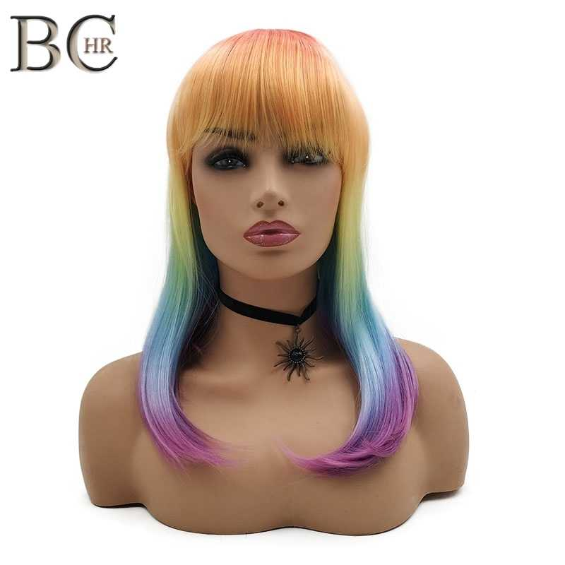 BCHR 18 дюймов цвет радуги прямой парик для женщин синтетический парик с плоским взрыва косплей парик Бесплатная доставка
