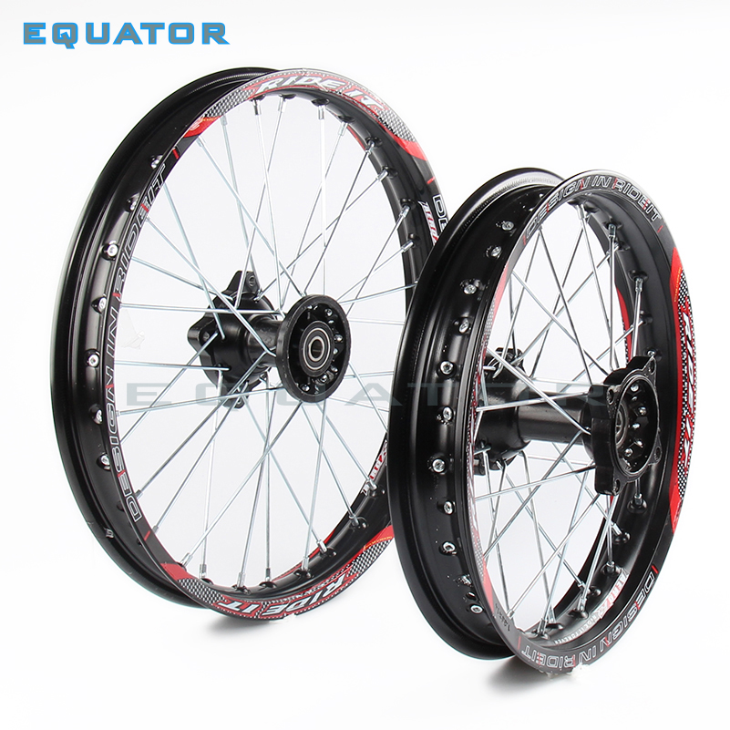 black 12mm 15mm Front 1.85-14 inch Rear 1.60-17 inch aluminium Alloy Wheel Rim For 160cc 150CC Dirt Pit bike 14 17 inch wheel 14 inch front wheel rotating disc teeth open file 100mm axis length 140mm us tsui kole bike rim electric bike wheel bzo004