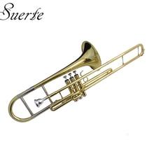 лучшая цена Eb Piston Trombone Brass Body with Wood case and Mouthpiece Slide trombon Musical instruments professional