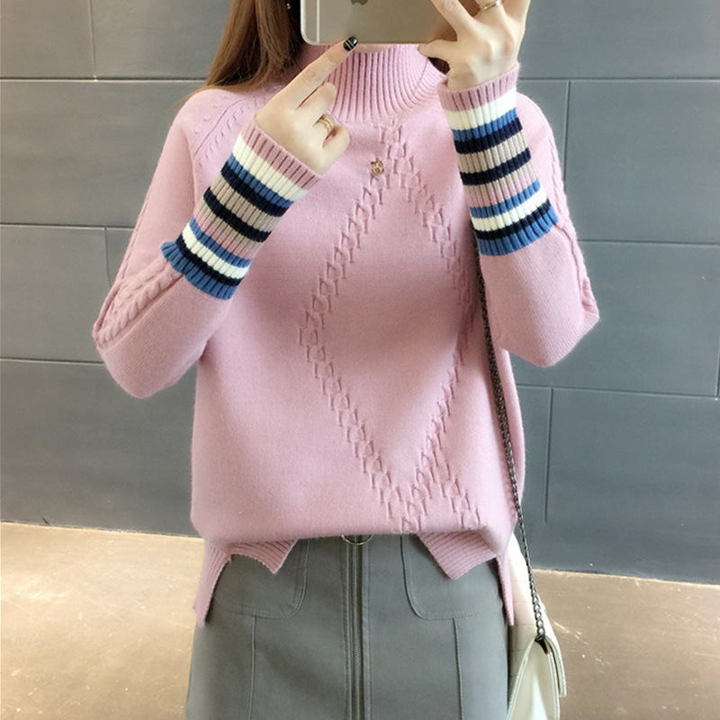 PEONFLY Winter Sweater Pullovers Women Long Sleeve Tops Turtleneck Knitted Sweater Woman Striped Female Casual Streetwear-in Pullovers from Women's Clothing on AliExpress - 11.11_Double 11_Singles' Day 1
