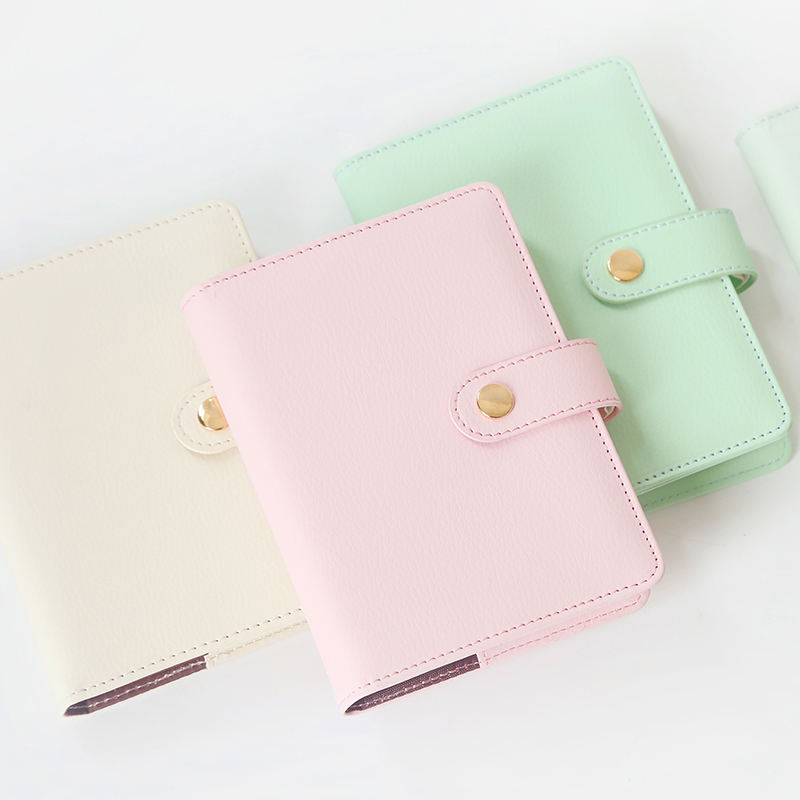 Cute Candy Color A6 Leather Diary Soft Travel Journal Planner Grid Inside Pages Notebooks Journal Kawaii DIY Office Stationery