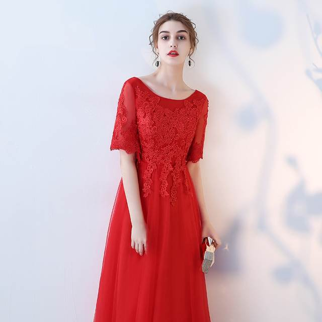 Fashion Red Plus Size Evening Dresses Long 2018 New Sexy Formal Dress Scoop  Tulle Appliques Lace 45b91ef10948