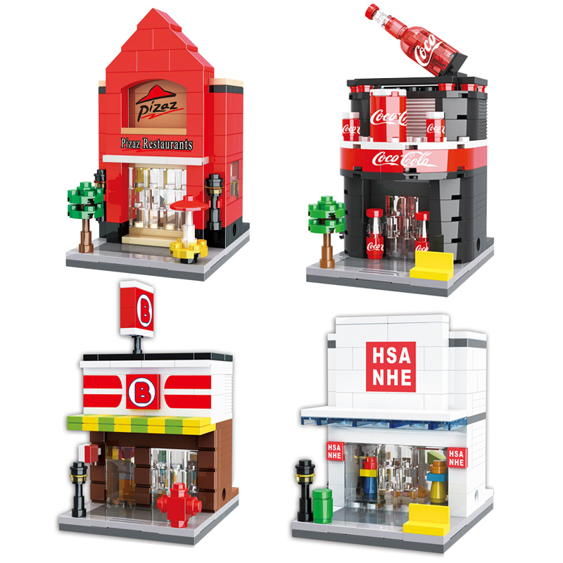 HSANHE Mini Street Series Stores Architecture Model Building Blocks Set Brick Classic DIY Toys For Children Gifts loz mini diamond block world famous architecture financial center swfc shangha china city nanoblock model brick educational toys