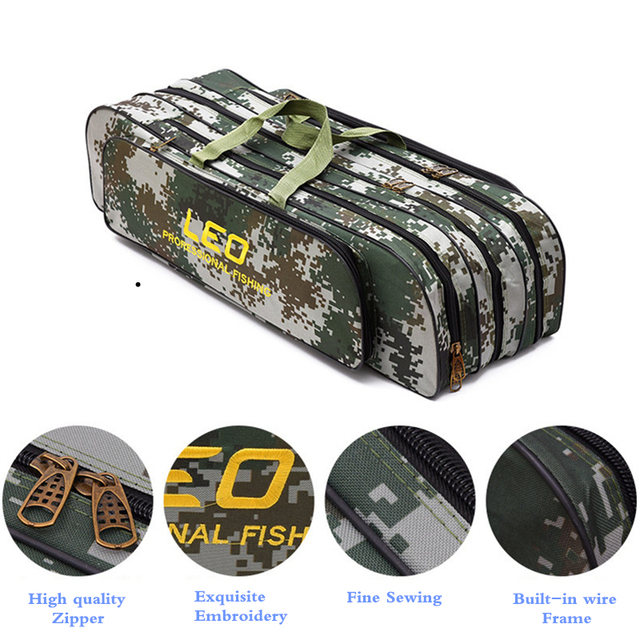 2018 Digital Camouflage Fishing Bags 600D Canvas 2/3 layer 80/90cm Fishing Rod Kit Tackle Boxes Multi-Purpose Fishing Gear Bags 3