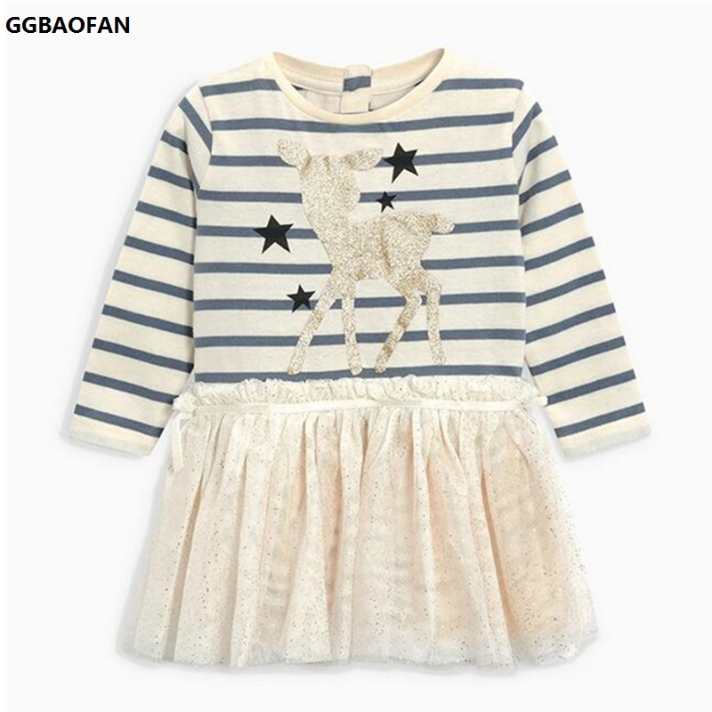 GGBAOFAN Baby Girl Deer Cartoon Printed Cotton Striped Mesh Dress For Girls Long-sleeved Lovely Princess Children's Clothes 2-7Y