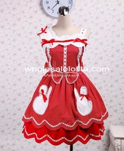 Cotton Sleeveless Bow Red With White Dot Sweet Lolita Dress Gothic Victorian Princess Style Ball Gown