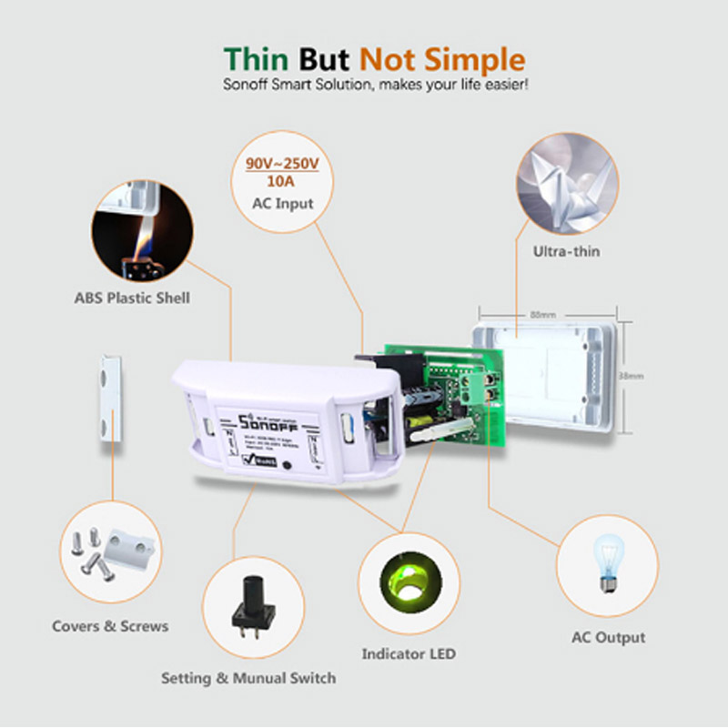 Sonoff Smart WiFi Switch Basic Wireless Home Automation Relay Module Domotica DIY Timer Remote Controller Work With Alexa