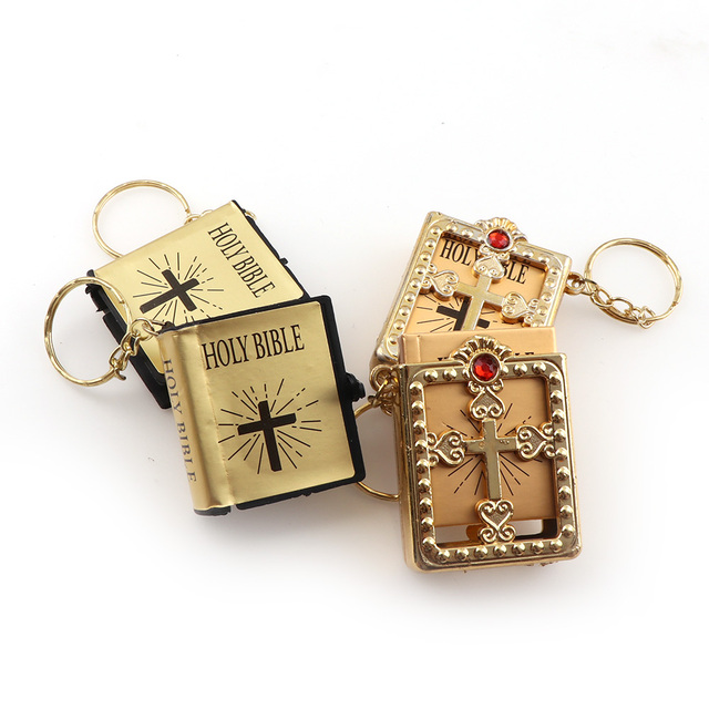 Two Models English Version Mini Religious Christian HOLY Bible Keychain Key  Holder Women Bag Charm Gift 9aa62e426780