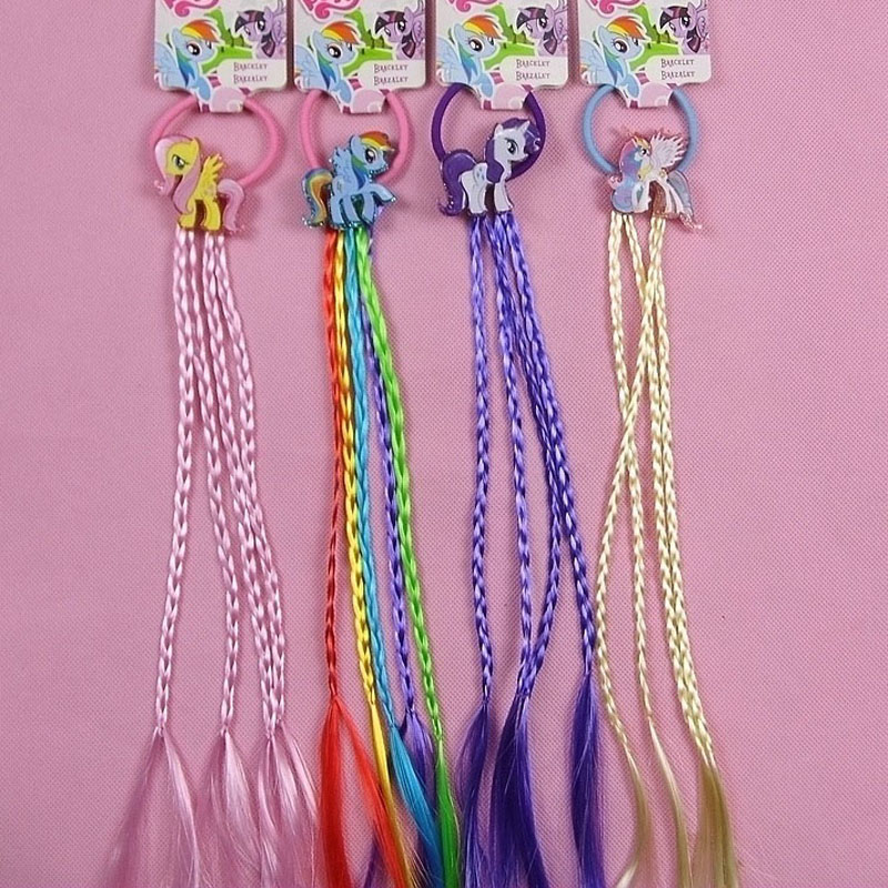 New Fashion Unicorn Cartoon Hair Rope Ribbon Hair Tie Kids Girls Elastic Rubber Hair bands Hair Accessories with Wig Decoration han edition of the new bankcard yarn rope ribbon hair with hair hoop hair tire wholesale
