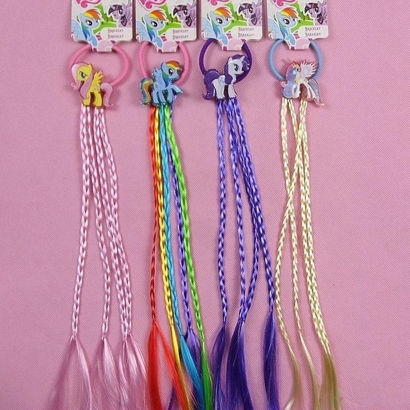 New Fashion Unicorn Cartoon Hair Rope Ribbon Hair Tie Kids Girls Elastic Rubber Hair bands Hair Accessories with Wig Decoration