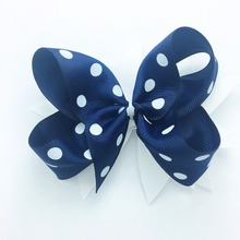 1PCS 5 Inches Hair Bows Hight Quality Navy Ribbon Kids Clips Hand Made Children Accessories