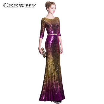 CEEWHY Colorfur Sequin Evening Dresses Long Formal Gowns Prom Party Dress Abiye Robe De Soiree Mermaid Evening Dress Half Sleeve