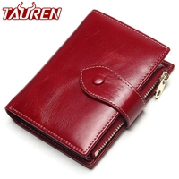 100% Genuine Leather Women Short Wallet Female Small Walet Fashion Lady Mini Zipper Money Bag Vallet Coin Purse Card Holder