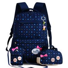 eaa0ea77787b Рюкзак для Обувь для девочек Дети Школьные ранцы 3 шт./компл. школьный  большой Ёмкость Dot Star Печать школьный рюкзак милый Moc.