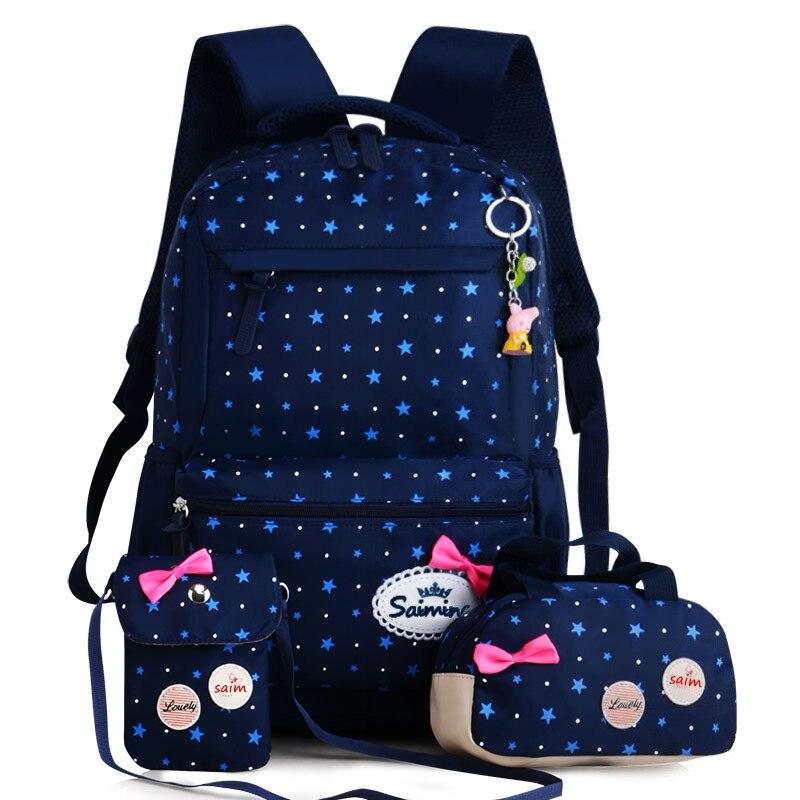 Mochila para as Meninas da Escola dos Miúdos Bolsa de Luz Bolsas Mochila Grande Capacidade Dot Estrela Impressão Escola Bonito 3 Pçs – Set