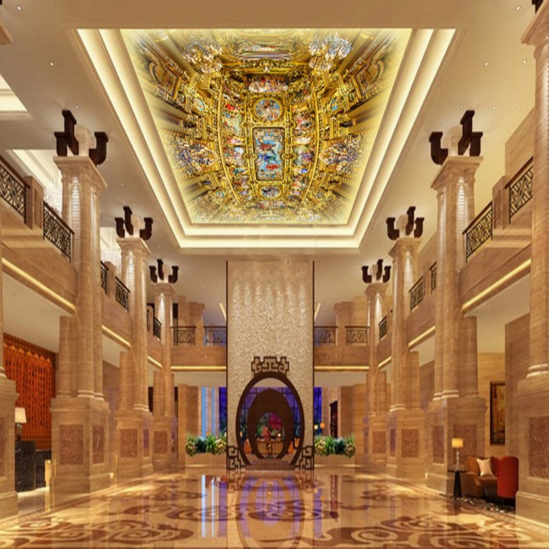 Custom photo wallpaper Custom Luxurious European Church Mural restaurant hotel hall mall living room ceiling wallpaper custom 3d stereo ceiling mural wallpaper beautiful starry sky landscape fresco hotel living room ceiling wallpaper home decor 3d