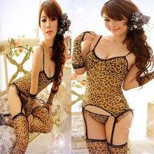 Women Sexy Leopard print Lace Lingerie Nightwear Underwear Robe Babydoll Sleepwear Dress Women Lingerie Dress 2018
