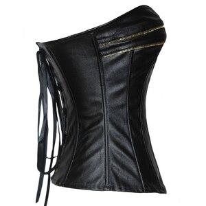 Image 3 - פאנק סגנון לדחוף את נשים הרזיה גוף Overbust Shapewear גותי פו עור Bustier מחוך עם רוכסן מותניים מאמן שחור