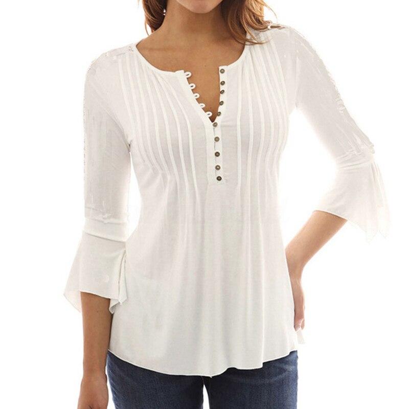 Corea del estilo de las mujeres blusa camisas 2017 elegante volantes Mujer Tops Plus tamaño manga ocasionales sólido camisa femenina blusas
