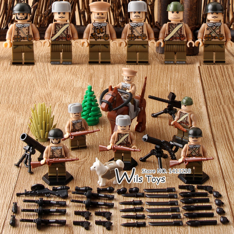 Russian Army WORLD WAR 2 Military Soldier SWAT Weapon Gun Soviet Guards Building Blocks Figure Boy Educational Toy Gift Children xinlexin 317p 4in1 military boys blocks soldier war weapon cannon dog bricks building blocks sets swat classic toys for children