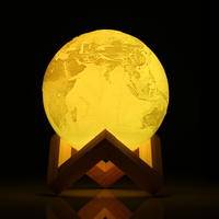 Rechargeable 3D Print Earth Lamp RGB Color Change Remote Control Touch Switch Bedroom Night Light Home Decor Creative Gift