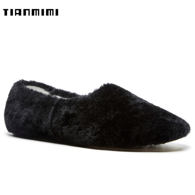 3215d0ea9 TIANMIMI Winter Ankle High Snow Boots Ugs Women Black White Shoes Cute Real  Fur Flat Pointy Toe