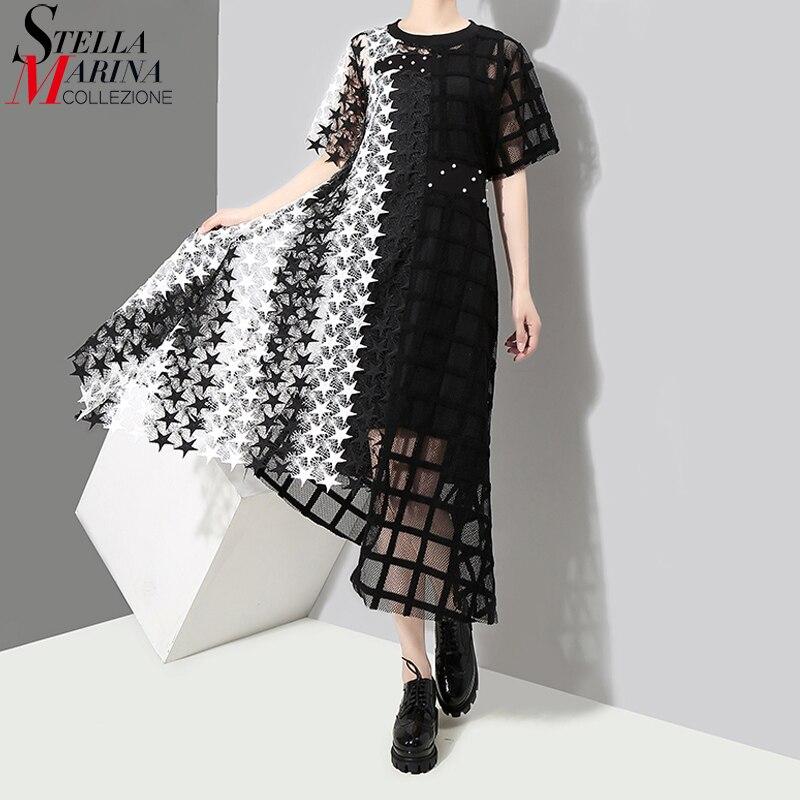New 2018 Women Stylish Summer Black & White Long Lace Dress Female Night Party Sexy Clubwear Asymmetrical Dress Robe Femme 3517