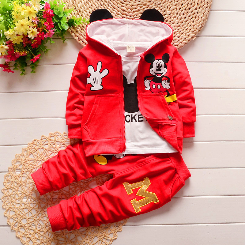 2017 New Chidren Kids Boys Clothing Set Autumn Winter 3 Piece Set Hooded Coat Suits Fall Cotton Baby Boys Clothes Mickey 1-5T