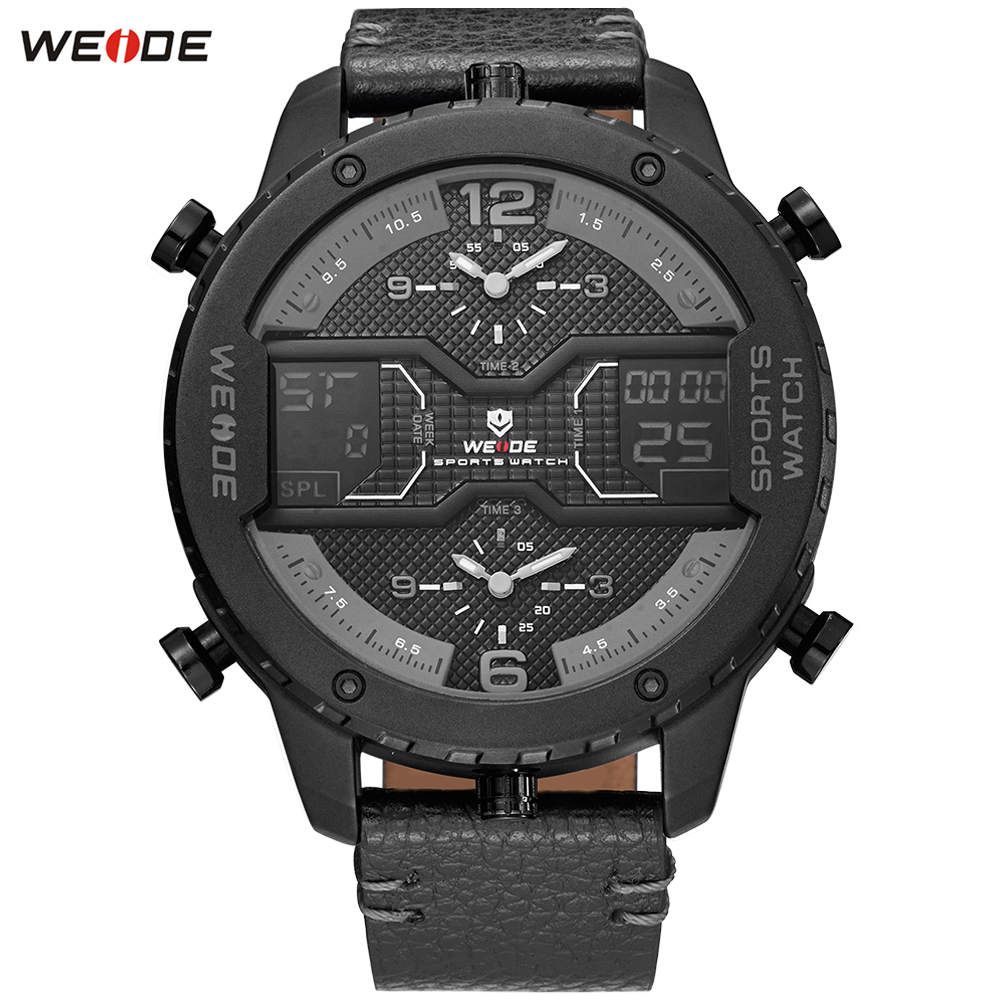 WEIDE Top Luxury Brand Dress Watches Man Classic Genuine Leather Strap Week Date Quartz Wrist Watch Popular Relogios Masculinos luxury brand bobo bird men watches wooden quartz wristwatch genuine leather strap relogios masculinos b m14