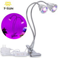 T SUNRISE LED Grow Dual Head 10W Plant Grow Lamp LED Fitolampy With Double On Off