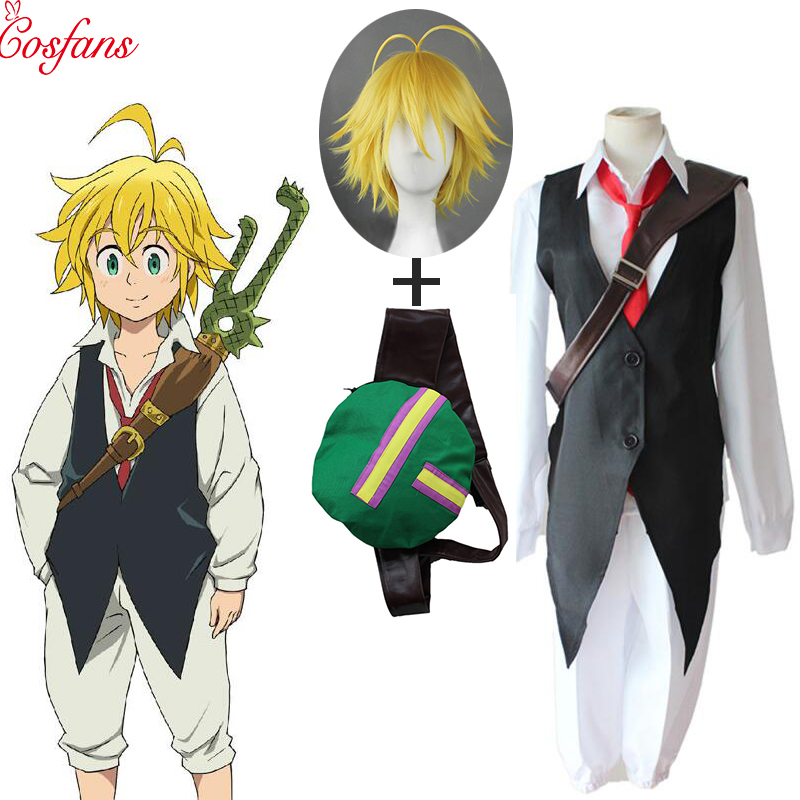 2019 6PCS Anime The Seven Deadly Sins Nanatsu No Taizai Dragon's Sin Of Wrath Meliodas Cosplay Costume Full Set Uniform And Wigs