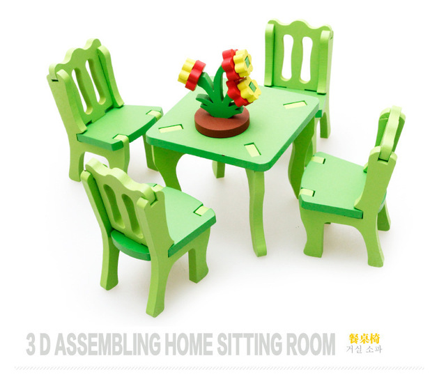 kids dollhouse furniture. Wood Furniture Toy Kids Dollhouse 3D Assembling Kitchen Chair Baby Room Toys