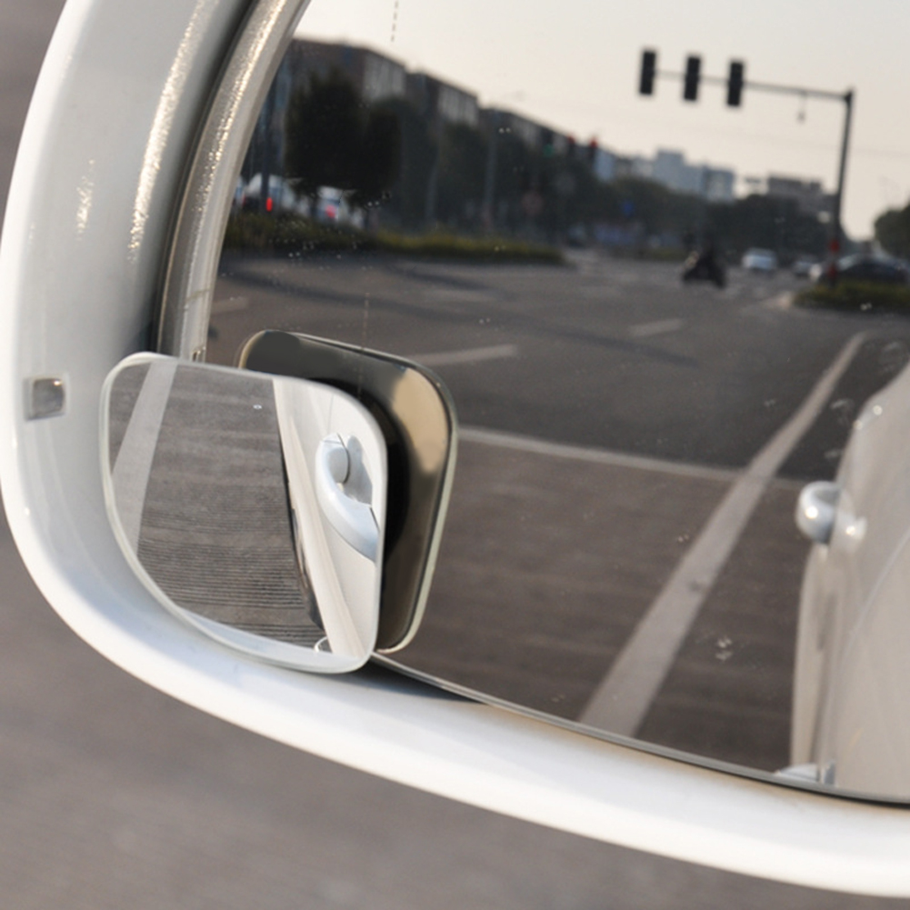 Car Styling 2pcs Clear Car Rear View Mirror 360 Rotating Safety Wide Angle Blind Spot Mirror Parking Round Convex Accessories 2 in 1 car blind spot mirror wide angle mirror 360 rotation adjustable convex rear view mirror view front wheel car mirror