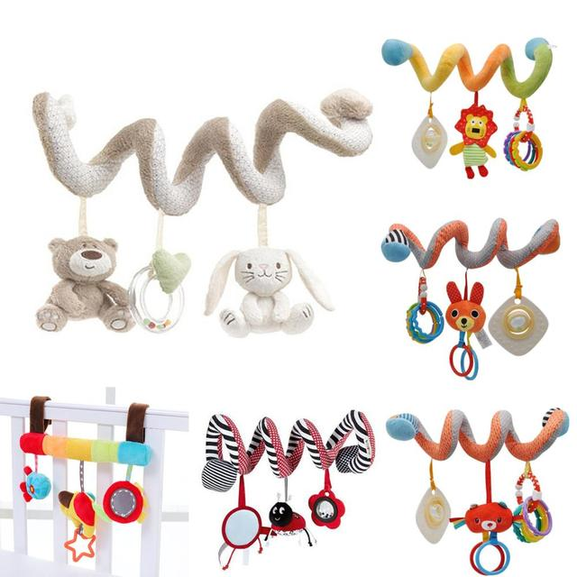 Baby Rattle Toy Bear Rabbit Soft baby bed Hanging toy Spiral Activity rabbit Round the Bed Baby Educational Rattles Toys 20% off